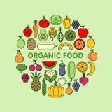 Vektorikonensatz des Gemüses, der Früchte und der Beeren flacher lizenzfreies stockbild