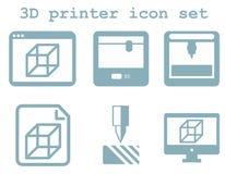 Vektorikonensatz Technologie des Drucken 3d, flach Blau lokalisierte IC Lizenzfreie Stockbilder