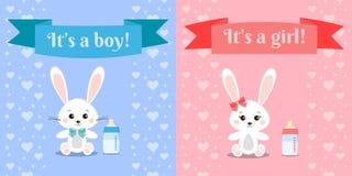 Vektorillusrtation med gulliga och söta kaninpojke- och flickakaniner och att behandla som ett barn flaskan stock illustrationer