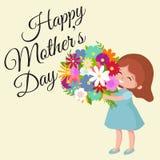 Vektorillustraionen behandla som ett barn flickan med dag för mödrar för blommavagn lycklig Arkivfoton
