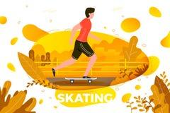 Vektorillustration - åka skridskor mannen parkera in Royaltyfri Fotografi