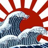 Vektorillustration: Österlänningvågor, stormbild, traditionell asiatisk konst stock illustrationer