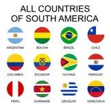 Vektorillustration alla flaggor av Sydamerika Alla länder av Sydamerika, rund form sjunker royaltyfri illustrationer