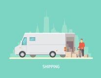 Vektorillustration auf dem Thema von Logistik Lizenzfreie Stockfotografie