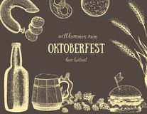 Vektorillustration av öl Råvara för att brygga Barmenyuppsättning Mellanmålkorvar och hamburgare Royaltyfria Foton