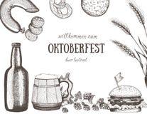 Vektorillustration av öl Råvara för att brygga Barmenyuppsättning Mellanmålkorvar och hamburgare Arkivfoto