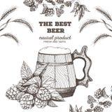Vektorillustration av öl Råvara för att brygga: filialflygturer och korn Barmenyuppsättning råna trä Arkivbild