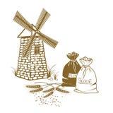 Vektorillustration av öron av vete, säckar av mjöl och windmil Royaltyfri Bild