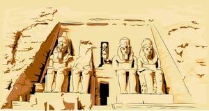 Vektorillustration av Abu Simbel Egypt Templet vaggar in stock illustrationer