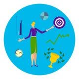 Vektorillustration av affärskvinnan på en utövande nivå, kontorsarbetare, chef vektor illustrationer