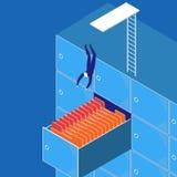 Vektorillustration av affärsmandykning in i arbetet vektor illustrationer
