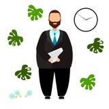Vektorillustration av affärsmannen, kontorsarbetare, chef, kontorist royaltyfri illustrationer