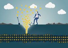 Vektorillustration av affärsmannen som upptäcker en åder av guld- dollar Begrepp av framgång och rikedom royaltyfri illustrationer