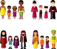 Vektorillustration av afrikanen, asiat, arab, indisk familj Royaltyfri Foto