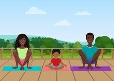 Vektorillustration av afrikansk amerikanfamiljen som mediterar på naturfältbakgrunden vektor illustrationer