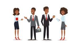 Vektorillustration av afrikansk amerikanmän och kvinnor, i affärskläder, standind och samtal tillsammans svart affär vektor illustrationer