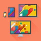Vektorillustration av användargränssnittet på digitala apparater Arkivbild
