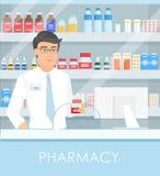 Vektorillustration av apotekaren i apotek med hyllor med mediciner och punkter som ska boxas med drogen stetoskop för pengar för  vektor illustrationer