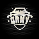 Vektorillustration av armémetalltecknet på en svart bakgrund Fotografering för Bildbyråer