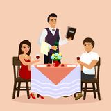 Vektorillustration av att älska par i restaurang med uppassaren som dricker vin i ett kafé Mannen och kvinnan har ett datum, läge royaltyfri illustrationer