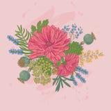 Vektorillustration av att blomma blommor Royaltyfria Bilder