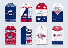 Vektorillustration av att hälsa etiketter för USA-självständighetsdagen4th juli gåva royaltyfri illustrationer