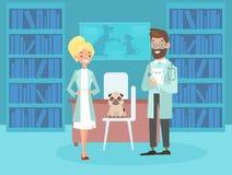 Vektorillustration av att le manliga kvinnliga veterinärer Veterinärhusdjurdoktorer, gullig valphund i plan tecknad filmstil vektor illustrationer
