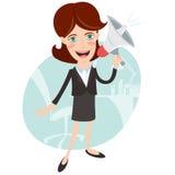 Vektorillustration av att ropa för kontorskvinnamegafon Royaltyfria Bilder