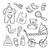Vektorillustration av baby showerobjektklotter vektor illustrationer