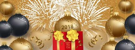 Vektorillustration av bakgrund 2018 för nytt år med den julguldbollar och gåvan vektor illustrationer