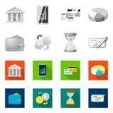 Vektorillustration av bank- och pengarsymbolen Uppsättning av bank- och räkningmaterielsymbolet för rengöringsduk royaltyfri illustrationer