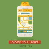 Vektorillustration av begreppsprocessen som bokar taxien och att skapa Vektor Illustrationer
