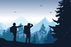 Vektorillustration av berglandskapet med skogen och två till Royaltyfria Foton