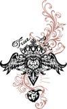 Vektorillustration av bevingad hjärta, kronan och äpplet Hand dragen retro tatueringflyghjärta Arkivbild