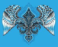 Vektorillustration av bevingad hjärta, kronan och äpplet Hand dragen retro tatueringflyghjärta Arkivfoton