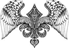 Vektorillustration av bevingad hjärta, kronan och äpplet Hand dragen retro tatueringflyghjärta Arkivfoto