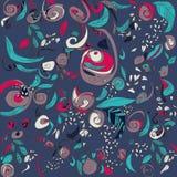 Vektorillustration av blommor på mörk bakgrund goda för ditt baner, kort, textil Royaltyfria Bilder