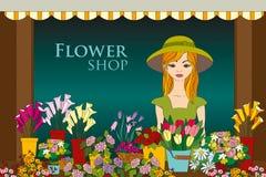 Vektorillustration av blomsterhandlareflickan Fotografering för Bildbyråer