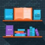Vektorillustration av bokhyllan stock illustrationer