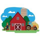 Vektorillustration av bonden, lantgårdbyggnad och släkta objekt Arkivbild