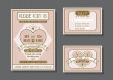 Vektorillustration av bröllopinbjudanmallen Arkivbild