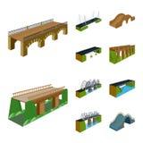 Vektorillustration av bridgework och arkitektursymbolen St?ll in av bridgework- och strukturmaterielsymbolet f?r reng?ringsduk stock illustrationer