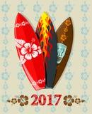 Vektorillustration av bränningbräden med text 2017 Arkivfoto