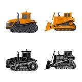 Vektorillustration av byggande- och konstruktionssymbolet Uppsättning av byggande och maskinerivektorsymbol för materiel stock illustrationer