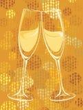 Vektorillustration av champagneexponeringsglas Arkivbilder