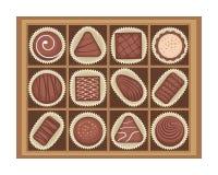 Vektorillustration av chokladgodisar i en ask royaltyfri illustrationer