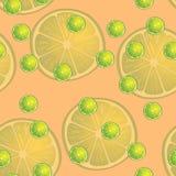Vektorillustration av citronskivor i samma format på orange bakgrund modell Arkivfoton
