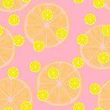 Vektorillustration av citronskivor i samma format på rosa färger modell Arkivbild