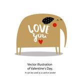 Vektorillustration av dagen för valentin` s Det kan användas som ett kort eller en affisch Royaltyfri Foto