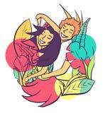 Vektorillustration av danspar i vändkretsar stock illustrationer